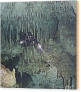 Technical Diver In Cave System, Mexico Wood Print