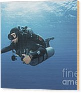 Technical Diver With Equipment Swimming Wood Print