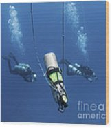 Technical Divers Ascend Near A Nitrox Wood Print by Karen Doody