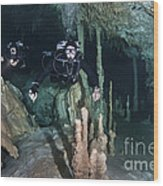 Technical Divers In Dreamgate Cave Wood Print