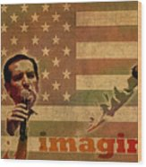 Ted Cruz For President Imagine Speech 2016 Usa Watercolor Portrait On Distressed American Flag Wood Print