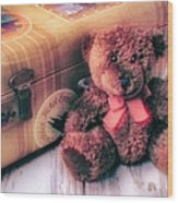Teddy Bear And Suitcase Wood Print