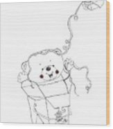 Teddy Bear Noodles Wood Print