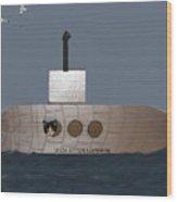 Teddy In Submarine Wood Print