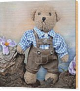 Teddy On Tour Wood Print