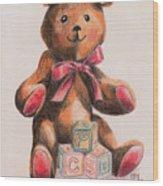 Teddy With Blocks Wood Print