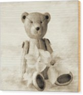 Teddy With Daffodils - Toned Wood Print