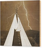 Tee Pee Lightning Wood Print