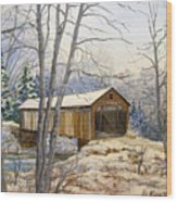 Teegarden Covered Bridge In Winter Wood Print