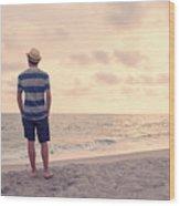 Teen Boy On Beach Wood Print