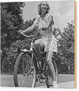 Teeng Girl Riding Bike On Sidewalk Wood Print