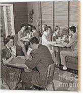Teens At A Diner, C. 1950s Wood Print