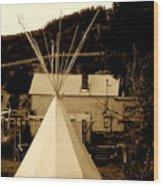 Teepee In Montana Wood Print