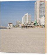 Tel Aviv Coastline Wood Print