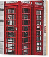 Telephone Boxes In London Wood Print