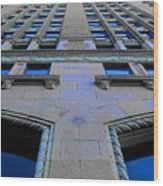 Telephone Building With Indigo Reflections Wood Print