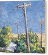 Telephone Poles Before The Rain Wood Print