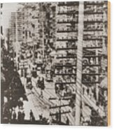 Telephone Wires Over New York, 1887 Wood Print by Everett