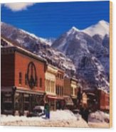 Telluride For The Holiday Wood Print