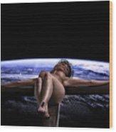 Tellus Crucifix In Dark V Wood Print