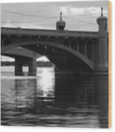 Tempe Town Lake Bridge Black And White Wood Print