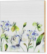 Template For Card With Decorative Wild Flowers Wood Print