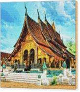 Temple In Laos Wood Print