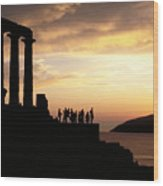 Temple Of Poseiden In Greece Wood Print