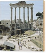 Temple Of Saturn Roman Forum Rome Italy Wood Print