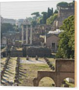 Temple Of Vesta. Arch Of Titus. Temple Of Castor And Pollux. Forum Romanum. Roman Forum. Rome Wood Print by Bernard Jaubert