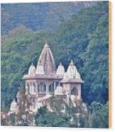 Temple In The Distance - Rishikesh India Wood Print