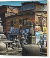 Temple Shop Wood Print