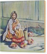 Temple-side Vendor Wood Print