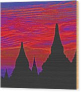 Temple Silhouettes Wood Print