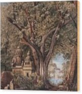Temples And Burial Ground Near Poona Wood Print