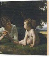 Temptation By William-adolphe Bouguereau Wood Print