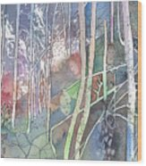Ten Faces In The Mystical Forest Wood Print