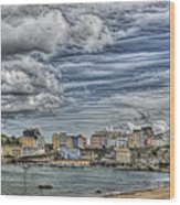 Tenby Harbour Texture Effect Wood Print