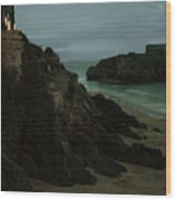 Tenby In The Night Wood Print