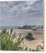 Tenby Pembrokeshire Low Tide Wood Print