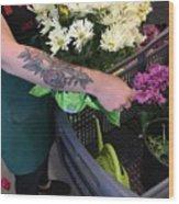 Tending Flowers Wood Print
