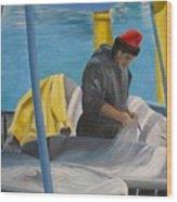 Tending Nets Wood Print