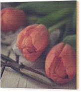Tending The Tulips Wood Print
