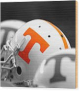 Tennessee Football Helmets Wood Print by University of Tennessee Athletics