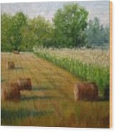 Tennessee Hay And Corn Fields Wood Print
