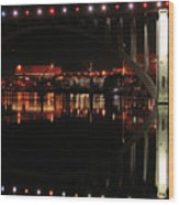 Tennessee River In Lights Wood Print
