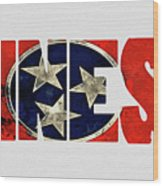 Tennessee Typography Map Flag Wood Print