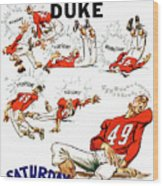 Tennessee Versus Duke 1955 Football Program Wood Print