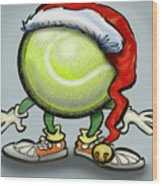Tennis Christmas Wood Print