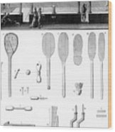 Tennis Court And Rackets Wood Print